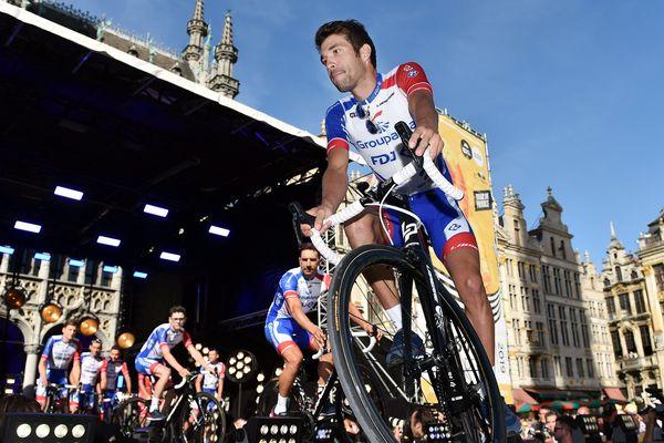 Le français Thibaut Pinot (équipe Groupama - FDJ), à Bruxelles au départ du Tour de France 2019