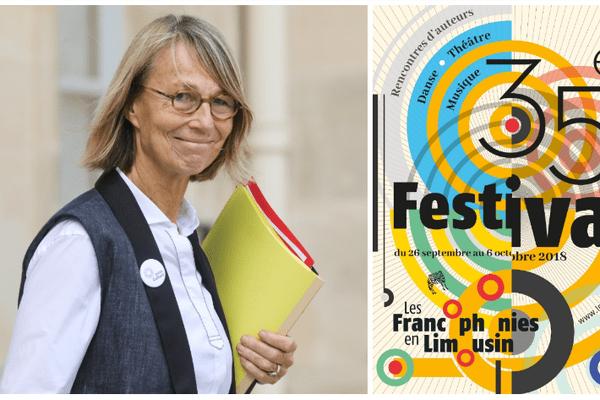 Françoise Nyssen quitte l'Elysée le 19 septembre après le Conseil des ministres. À droite, l'affiche de la 35e édition des francophonies du Limousin.