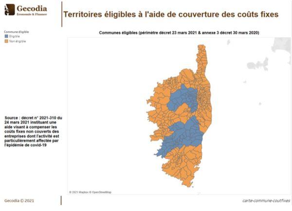 La carte des territoires éligibles (en bleu) à l'aide de couverture des coûts fixes accordée par l'Etat
