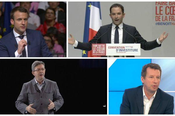 Emmanuel Macron,Benoît Hamon, Jean-Luc Mélenchon, Yannick Jadot