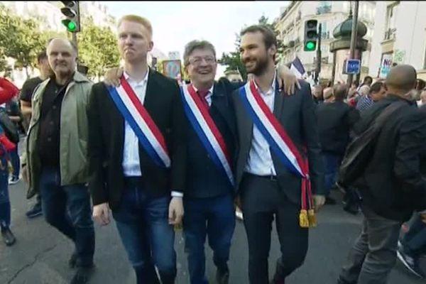 Avec Jean-Luc Mélenchon, leader de La France insoumise, et Ugo Bernalicis, député LFI du Nord.