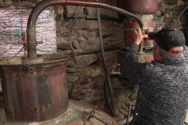 Sainte-Croix-Vallée-Française (Lozère) - Michel bouilleur de cru à l'oeuvre avec son alambic depuis 1966 - janvier 2020.