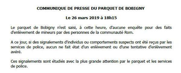 Extrait du communiqué de presse du Parquet de Bobigny publié ce mardi soir.