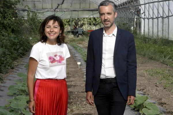 Carole Delga et Antoine Maurice en visite du domaine maraîcher de Bordebio de Toulouse en 2020.