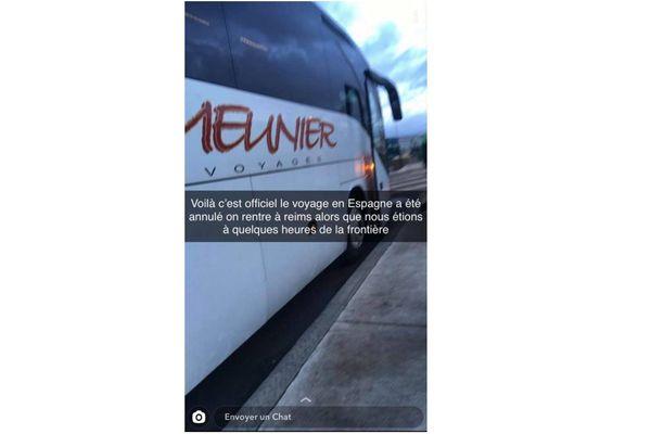 Capture d'écran. Le voyage des lycéens de Reims vers l'Espagne a tourné court à Tours.