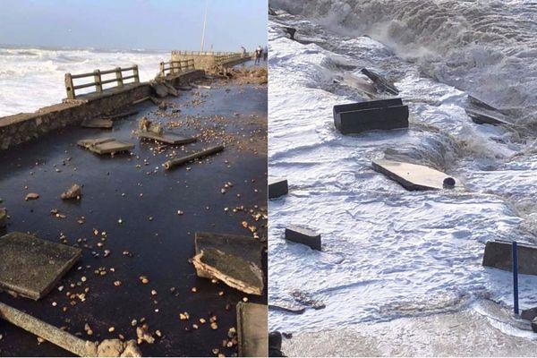 Les digues d'Ambleteuse et Wimereux ont été endommagées par la tempête Eleanor.