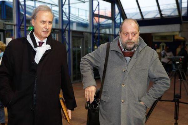 Georges Tron et son avocat Eric Dupont-Moretti, le 12 décembre 2017.