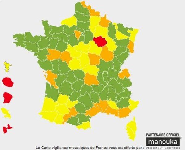 La Carte vigilance-moustiques de France du 16 juin 2013.