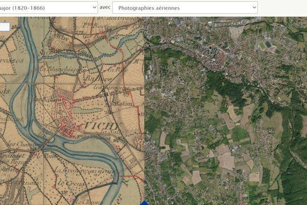 La ville de Vichy, dans l'Allier, comparée des années 1820-1860 à nos jours.