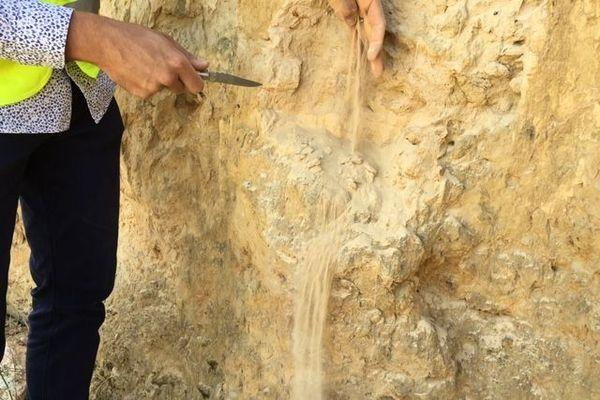 La dolomie, une roche extrêmement friable.