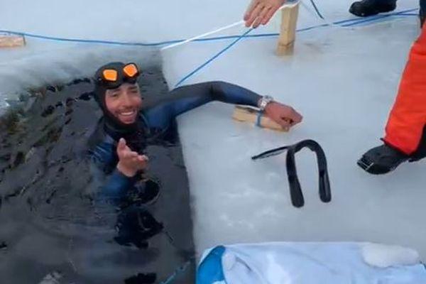 Le Niçois Arthur Guérin-Boëri établit un record du monde avec 120 m sous la glace !