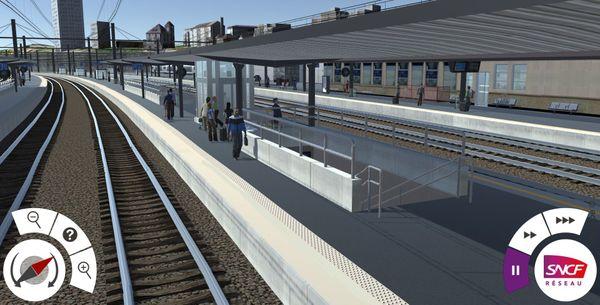 Infographie en 3D du quai N°3 qui sera rénové à la gare de Dijon