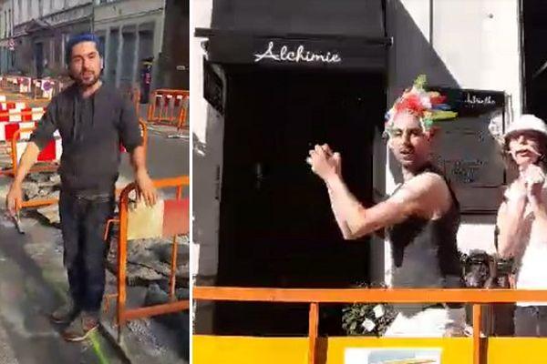 Guillaume, fleuriste au magasin l'Alchimiste de Lille, prend avec humour les travaux devant sa boutique.