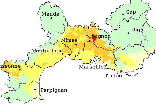 Prévision des émissions de pollen de cyprès en région Languedoc-Roussillon ce jeudi 24 mars 2016