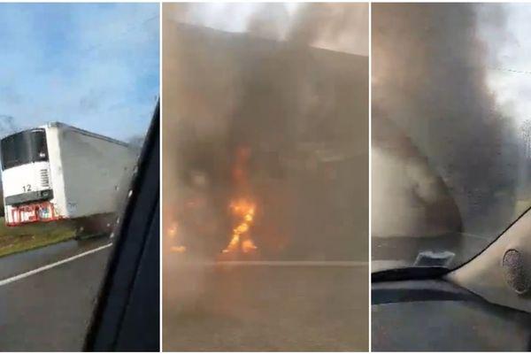La remorque, détachée du camion, était en feu sur l'autoroute A35 vers 10h30.