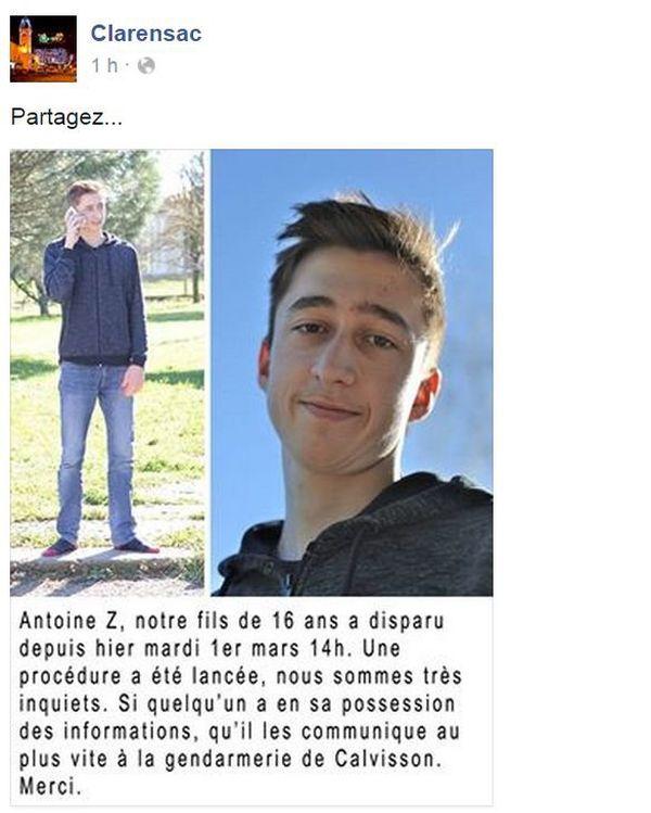 L'appel lancé par les parents d'Antoine sur facebook