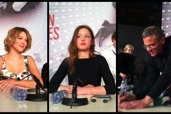 """L. Seydoux, A. Exarchopoulos et A. Kechiche, l'équipe du film """"La vie d'Adèle"""", tourné à Lille."""
