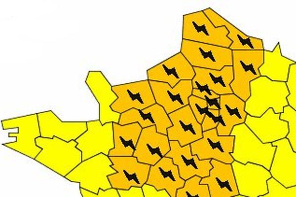 La partie nord de la carte de vigilance orange aux oranges de Météo France