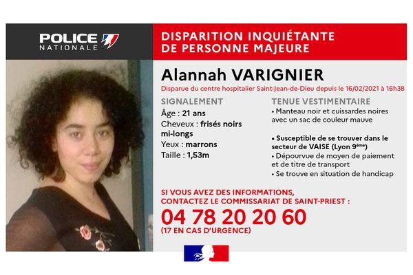 Alannah VARIGNIER, jeune femme de 21 ans en situation de handicap, est portée disparue depuis le 16 février après-midi.