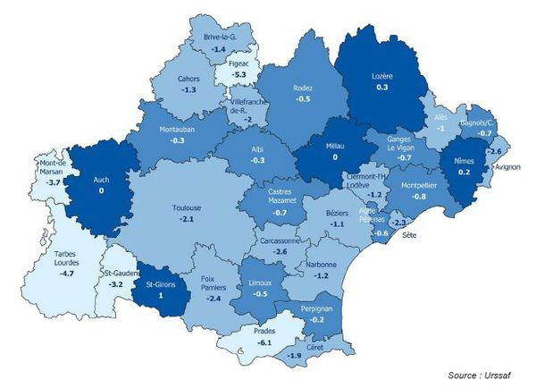 Evolution annuelle des effectifs salariés privés par zone d'emploi (en %) en Occitanie en 2020.