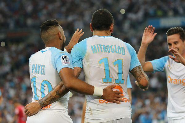 Thauvin , Payet et Mitroglou, les trois buteurs qui ont offert la victoire de l'OM (4-0) face à Guingamp, hier soir