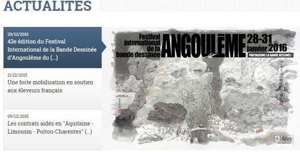"""Capture d'écran d'une partie de la """"une"""" du nouveau site Internet de la région ALPC"""