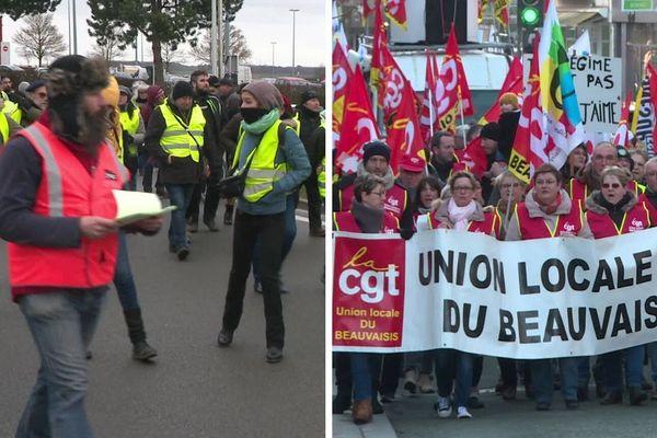 Mobilisés ensemble contre la réforme des retraites, cheminots, Gilets jaunes et simples citoyens ont distribué des tracts au rond-point de Glisy (à gauche), tandis qu'un cortège de 200 personnes défilait à Beauvais (droite), samedi 4 janvier.