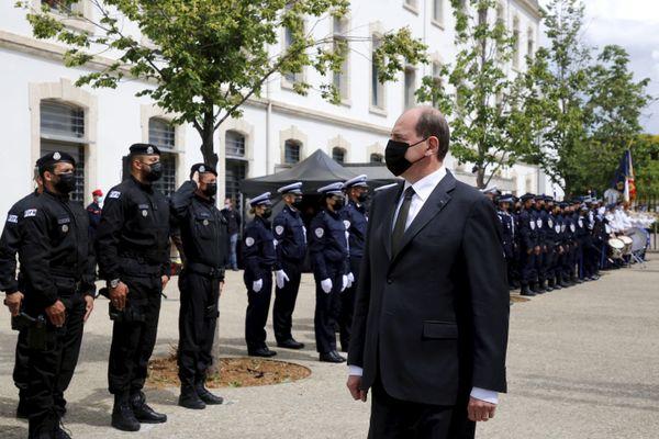 Jean Castex lors de l'hommage à Eric Masson, le policier tué à Avignon le mercredi 5 mai pendant un contrôle de trafic de drogues. Photo d'illustration