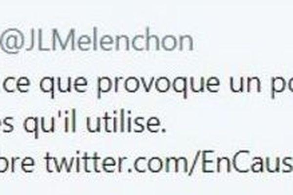 Le retweet de Jean-Luc Mélenchon sur le gilets jaunes et CRS de Frontignan... croyant qu'il s'agissait de Bordeaux.
