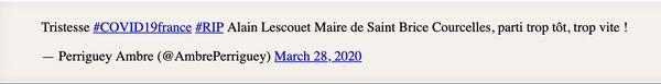 Le tweet de l'adjoint au maire de Saint Brice Courcelles.