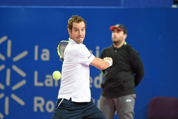 Le sérignanais Richard GASQUET contre Janowicz JERZY à l' Open Sud de France le 8 février 2015 à Montpellier