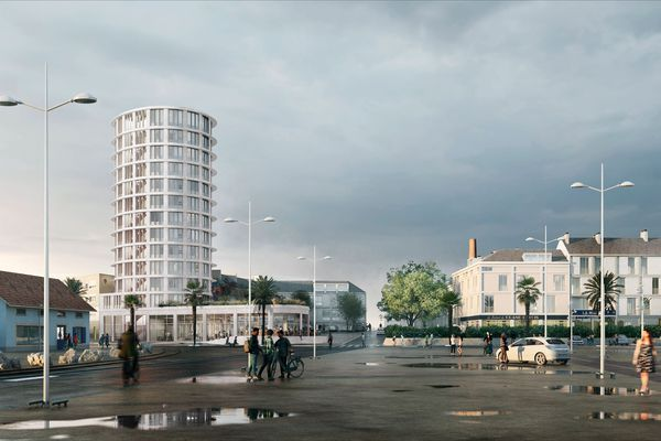 La place de la Rampe et la tour de 12 étages destinée au logement de 70 étudiants des Beaux-Arts, avec possible commerce au rez de chaussée