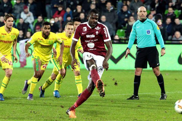 FC Nantes/FC Metz en 26e journée de Ligue 1 : Diabate égalise sur penalty.