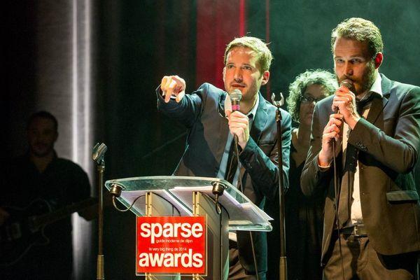 """Pierre-Olivier Bobo et Antoine Gauthier, les deux moteurs de l'aventure Sparse, lors des premiers """"Sparse Awards"""" à Dijon le 19 décembre 2014."""