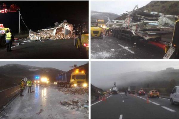 Un camion transportant des produits laitiers s'est couché sur les voies dans la nuit du 2 au 3 décembre 2020 sur l'A89 près de Tarare. Les agents de Vinci Autoroutes étaient sur place pour dégager les voies. La voie de droite a été rendue à la circulation vers 8h30.