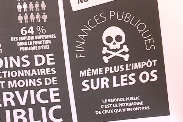 Un tract distribué à Agde et Montpellier par l'intersyndicale Solidaires CGT FO des finances publiques pour protester contre la réforme de l'administration des impôts - 10/10/2019