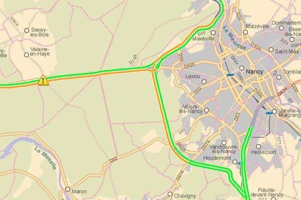L'opération escargot (en orange sur la carte) sur l'A31 à hauteur de Nancy a débuté à partir de 7h, vendredi 06 décembre 2019.