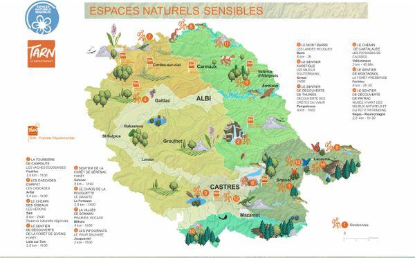 14 des 81 espaces naturels sensibles du Tarn à découvrir via des parcours aménagés