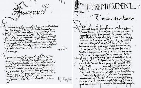Des documents attestant le versement des salaires de forgerons (à gauche) et de fabricantes de tentes et couturiers (à droite)