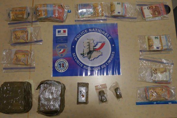 La drogue et l'argent qui se trouvaient dans le sac de l'adolescent interpellé à Limoges jeudi 13 février.