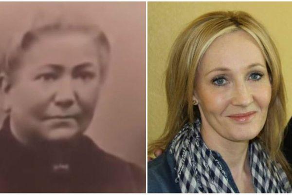 """À gauche, Salomé Schuch, l'ancêtre alsacienne de J.K. Rowling native de Brumath (Bas-Rhin). À droite, J.K. Rowling, à Brumath, en 2011, lors du tournage de l'émission """"Who do you think you are?""""."""