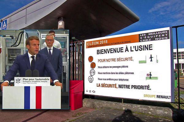 Emmanuel Macron à Etaples le 26 mai 2020 et l'entrée de l'usine Renault de Cléon
