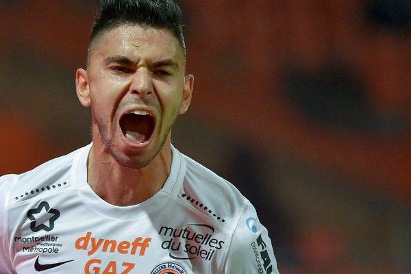 Morgan Sanson célèbre son but lors du match nul de Montpellier 2-2 à Lorient lors de la 11e journée de Ligue 1 - 29 octobre 2016