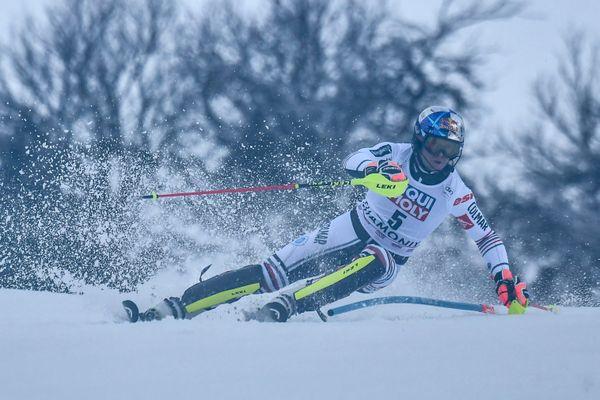 Alexis Pinturault lors de la première manche du deuxième slalom de Chamonix (Haute-Savoie) dimanche 31 janvier 2021.