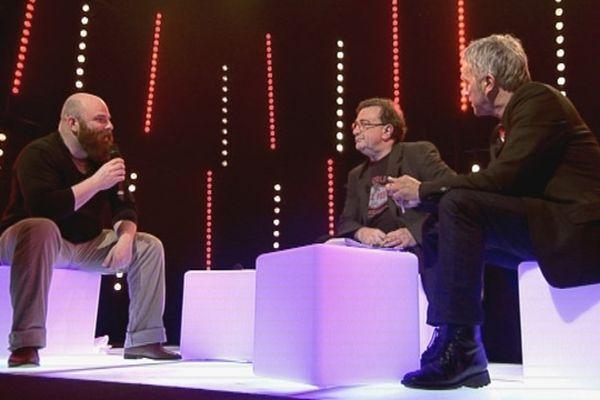 Thomas de Pourquery avec Jan Lou Janeir et Alex Duthil sur le plateau de Jazz club sous les pommiers 2013