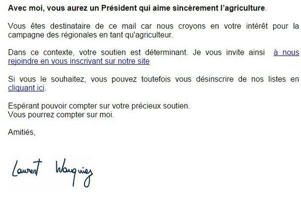 Les agriculteurs ont reçu ce mail type, appelant à voter pour la liste de Laurent Wauquiez aux élections régionales