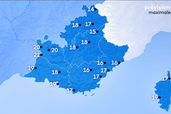 Météo du lundi 16 mars 2020 températures après-midi