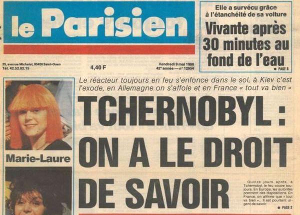 La Une du quotidien Le Parisien, le 9 mai 1986