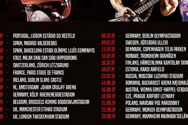 affiche de la tournée européenne de Metallica qui passe par Paris le 12 mai