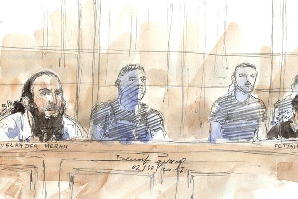 Dessin : Abdelkader Merah et Fettah Malki lors de leur premier procès en 2017 devant la cour d'assises de Paris
